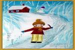 甜蜜的冬天儿童画