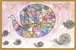 快乐的蜗牛油画棒儿童画