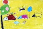 小刺猬搬家儿童画作品欣赏