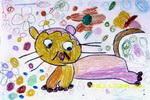 小花猫做游戏儿童画