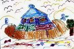 水中飞碟儿童画