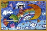 通往月亮的彩虹桥儿童画