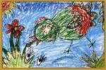 小鸡在散步儿童画