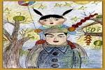 观灯油画棒儿童画