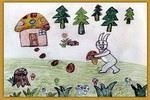 小兔采蘑菇儿童画2幅