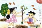 防风沙儿童画图片