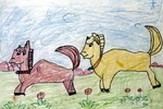 快乐的小马油画棒儿童画