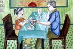 吃牛排儿童画作品欣赏