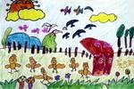 小鸡做早操儿童画图片