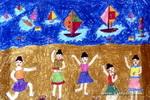 帆都少女舞翩翩儿童画