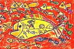 鱼船儿童画2幅