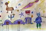 幻想外星儿童画