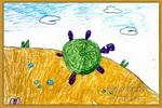 沙滩漫步儿童画