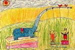 大象鼻子上面荡秋千儿童画
