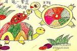 乌龟一家去旅游儿童画作品欣赏
