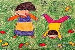 抓小鸡儿童画作品欣赏