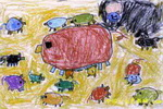 猪妈妈和她的孩子儿童画