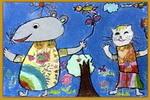 老鼠和小兔儿童画