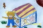 """小熊的""""蹦蹦床""""儿童画"""