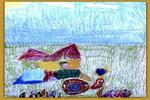 戴黄冠的小蜗牛儿童画