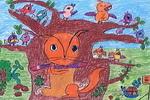 美妙的笛声油画棒儿童画