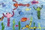鱼虾戏水儿童画