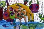 爱吃鱼的牛儿童画作品欣赏