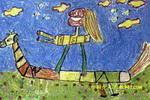 我爱骑驴儿童画