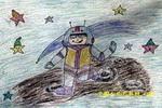 我到太空去遨游儿童画
