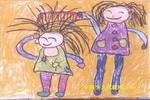 母女情油画棒儿童画
