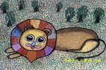 快乐的大狮子儿童画