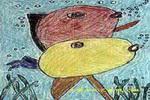 鲤鱼戏水儿童画