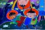 我和太空人做好朋友儿童画图片
