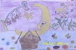 月亮港湾的灯笼花儿童画