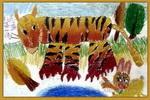 兔子与老虎儿童画