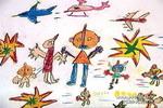 勇敢的奥特曼儿童画图片