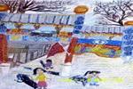 老街油画棒儿童画