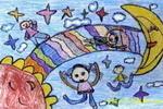 太阳・月亮和我们儿童画