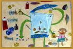 长手长脚的垃圾桶儿童画