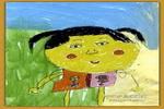 小妹妹油画棒儿童画