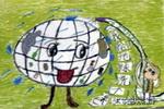 我给地球洗个澡儿童画3幅