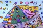 下雨了儿童画(七)2幅