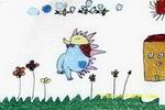 小刺猬的家油画棒儿童画