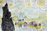 星月夜儿童画