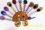 孔雀车儿童画