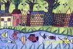 有小河的村庄儿童画