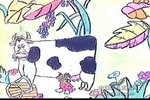 吃奶儿童画图片