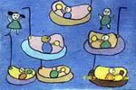 玩碰碰船儿童画
