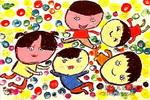 在海洋球池里儿童画作品欣赏