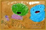 幸福一家人儿童画2幅